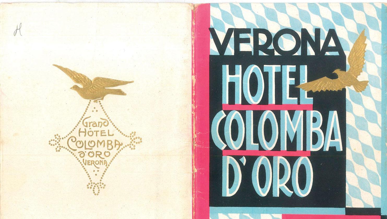 Locandina vintage dell'Hotel Colomba d'Oro a Verona